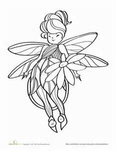 Preschool Fairies Worksheets: Flowered Fairy Coloring Page