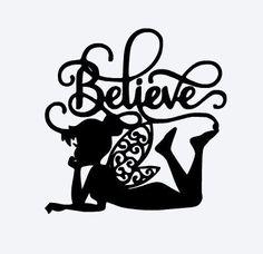 SVG disney tinkerbell tinkerbell silhouette believe peter Disney Fantasy, Tinkerbell, Machine Silhouette Portrait, Disney Princess Silhouette, Disney Silhouette Art, Plotter Cutter, 3d Templates, Fairy Silhouette, Dragonfly Silhouette