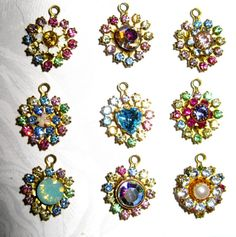 Swarovski Crystal Heart Charms crystal dangles Hearts Light Multi Custom made Custom colors Qty 2 You pick colors 12 mm x 15 mm one ring