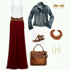 wine skirt jean jacket