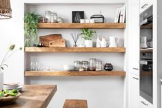 Oct 2019 - Create perfect kitchen storage, a display space, or a spot to keep baking and cooking essentials within easy reach. Handmade in the UK. Prices start from just with free UK mainland delivery on orders over Timber Shelves, Floating Shelves Kitchen, Wooden Floating Shelves, Rustic Floating Shelves, Solid Wood Shelves, Kitchen Shelves, Pine Shelves, Rustic Wooden Shelves, Walnut Shelves