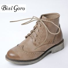 >> Click to Buy << BISI GORO Spring Autumn Women Oxford Shoes Lace Up Ankle Boots For Women Brogue Shoes Fashion Low Heel Martin Boots Female 2017 #Affiliate