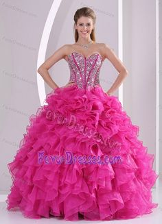 Fuchsia Sweetheart Dresses for Quinceanera