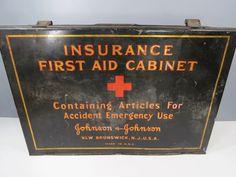 Vintage Johnson & Johnson Insurance First Aid Cabinet Metal Medical Display Cabinet, Industrial Advertising by UrbanRenewalDesigns on Etsy