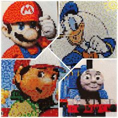 Perler bead Mario, Donald, Handy manny and Thomas  Photo Pearls by lenasax83