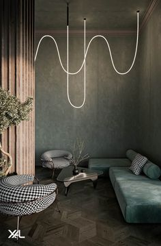 Get inspiration from this lounge space: The light cables can be suspended straight from the ceiling, artfully draped or looped around themselves. Position the luminare with ceiling clips, cable holders or cable suspensions to create decorative lighting fixtures. Even a linear arrangement is possible for a modern look. #xal#seethelight#architecturallighting #interiordesign#lighting#lightingdesign#ledlighting Led Light Projects, Light Decorations, Lighting Design, Lounge, Restaurant, Couch, Interior Design, Modern, Inspiration