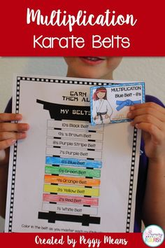 """Online homeschool curriculums Motivate your students to master their multiplication facts with karate belts! """"My students love working towards the next belt! I like how they can keep track of their own learning. Learning Multiplication, Math Fact Fluency, Teaching Math, Maths, Teaching Ideas, Daily Math, Third Grade Math, Grade 3, Second Grade"""