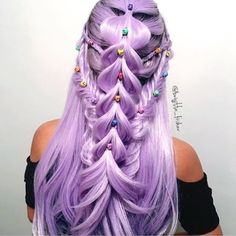 Scary Fairy Tales do come true - at least when it comes to hair! Gorgeous color style and handmade skull pins Cool Braid Hairstyles, Pretty Hairstyles, Fairy Hairstyles, Pelo Multicolor, Pretty Hair Color, Pinterest Hair, Anime Hair, Aesthetic Hair, Coloured Hair