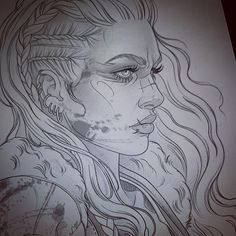 Art Drawings Sketches, Tattoo Sketches, Tattoo Drawings, Tattoo Art, Fantasy Kunst, Fantasy Art, Viking Drawings, Valkyrie Tattoo, Girl Face Drawing