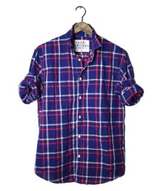 Red, white and blue check shirt