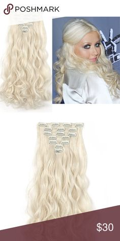 """Platinum blonde Clip Ins 20"""" Curly Full Head Clip in Synthetic Hair Extensions  7pcs 140g  Platinum blonde Accessories Hair Accessories"""