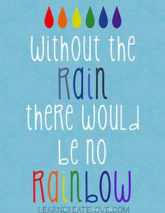 Free Printable Word Art: without the rain, there would be no rainbow