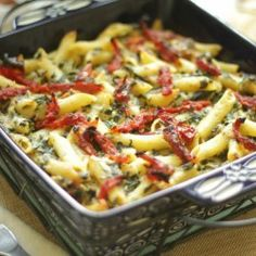Creamy sun-dried tomato and spinach pasta  bake