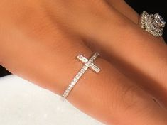 Sterling Silver Dainty Cross Ring Cubic Zirconia with 925 | Etsy Silver Wedding Bands, Diamond Wedding Rings, Diamond Engagement Rings, Lab Created Diamond Rings, Lab Created Diamonds, Fall Jewelry, Jewelry Gifts, Simulated Diamond Rings, Dainty Necklace