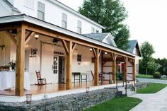 love the barn door as extra energy and safety protection.may work for my back entry. 47 Rustic Farmhouse Porch Decorating Ideas to Show Off This Season Porch Beams, Front Porch Columns, Farmhouse Front Porches, Wood Columns, Front Porch Design, Rustic Farmhouse, Farmhouse Style, Wooden Columns Porch, Front Entry