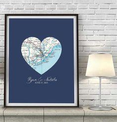 Custom Wedding Vintage Heart Map - Couples- Engagement -Anniversary gift UNFRAMED ART PRINT