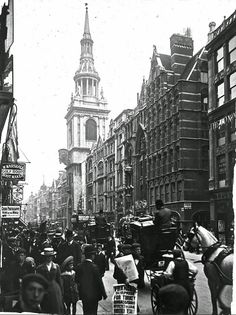 U.K. Cheapside with St Mary le Bow, London, 1910