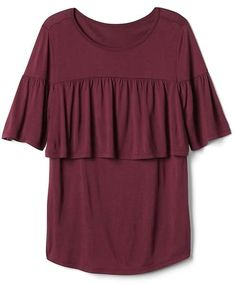 Discover stylish maternity clothes from Gap that flatter your changing shape. Dress up that bump in pregnancy clothes designed for all occasions. Nursing Clothes, Nursing Tops, Gap, Maternity, Ruffle Blouse, My Style, Sleeves, Shopping, Plum