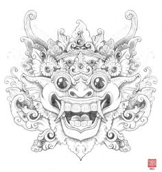 Balinese Mask Drawing Balinese barong (by bigkahuna70) � a great illustration of the barong.