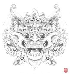 Balinese Barong (by – a great illustration of the Barong. Demon Tattoo, Mask Tattoo, 1 Tattoo, Mandala Tattoo, Tattoo Drawings, Barong Bali, Balinese Tattoo, Dragons, Mask Drawing