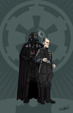"SERIOUSLY - CHECK OUT THIS GUY'S ART - IT IS FANTASTIC!!!   Star Wars - Grand Moff Tarkin and Darth Vader 17 x 11"" Digital Print"