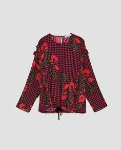 CHECK SHIRT WITH HEM DETAIL from Zara