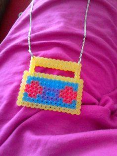 perler beads, made them myself (radio necklace)