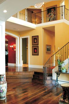 Lovely two story foyer with modern feel in this Craftsman Home. House Plan # Lovely two story foyer with modern feel in this Craftsman Home. House Plans And More, Dream House Plans, Modern House Plans, House Floor Plans, My Dream Home, Sunken Living Room, Living Area, Foyer Decorating, Paint Colors For Living Room