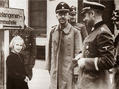 Himmler and his daughter, Gudrun, visiting Dachau concentration camp.