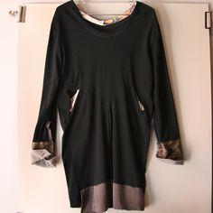 black long sleeve organic dress -diamond - Brook There: Organic Clothing, Organic Underwear