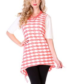Look what I found on #zulily! Lily Coral & White Scallop Sleeveless Sidetail Tunic by Lily #zulilyfinds