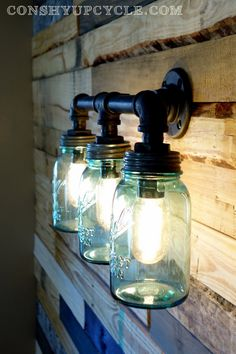 Unique Three Large Mason Jar Wall Sconce Light by ConshyUpcycle