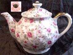 Lefton Rose Chintz Teapot 811R  Excellent Condition
