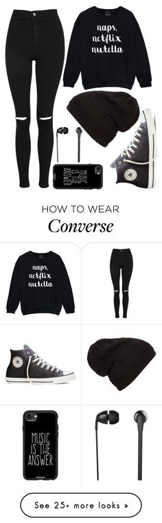 """Monochrome"" by therealsmrtim on Polyvore featuring Topshop, Casetify, Converse and The Sharper Image"