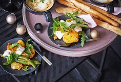 Erdäpfel-Fisolen-Salat mit Pesto Rosso und Mozzarella Pesto Rouge, Mozzarella, Sauce Pesto, Spaghetti, Tacos, Mexican, Chicken, Rezepte