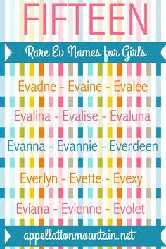 Evelyn, Evangeline, and Eva are popular Ev baby names, but there are many more Ev names for girls.