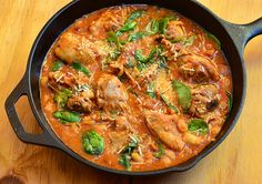 Tuscan Chicken  -  ◾1.5 kg Chicken Pieces  ◾250 g Bacon (chopped)  ◾1 Onion (minced)  ◾2 clove Garlic (minced)  ◾1 can Tomatoes  ◾¼ cup White Wine  ◾1 cup Water  ◾1 tbsp Tomato Paste  ◾1 can Cannellini Beans  ◾1 cup Spinach  ◾1 tbsp Parmesan Cheese  ◾¼ tsp Italian Seasoning  ◾Salt & Pepper to taste
