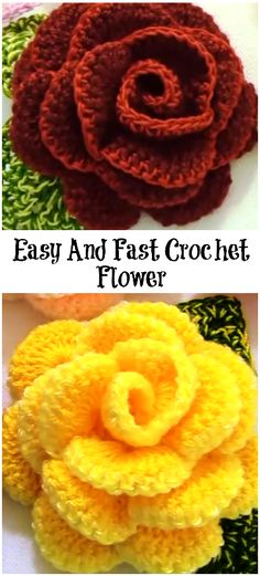 Easy And Fast Crochet Flower Hello flower and crochet lovers around the world! Today we have an exclusive video tutorial for you. We hope you. Fast Crochet, Love Crochet, Crochet Gifts, Beautiful Crochet, Crochet Yarn, Crochet Stitches, Crochet Puff Flower, Crochet Leaves, Crochet Flower Patterns