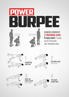 Burpee burpee nothing else. Hiit Workout At Home, Best At Home Workout, Gym Workout Tips, Boxing Workout, At Home Workouts, Burpees Workout, Cardio, Hero Workouts, Weight Training Workouts