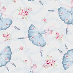Rachel Ashwell Ballet Rose Dancer in Blue on White Cotton Fabric - FQ