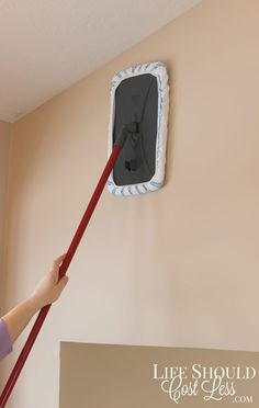 If it's paint, an all-purpose cleaner works fine. Tile would benefit from a vinegar-water 1:1 dilution, or even just some Windex or tile cleaner. Read more about why this mop is great for ~wall mopping~ here.