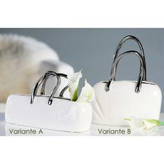 """Vase """"Handtasche"""" aus Keramik · weiß · glasiert mit silbernen Henkeln abgesetzt Variante A (auf dem Foto links)"""