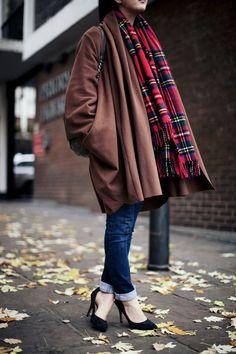 plaid scarf and oversized coat