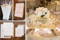 ivory linen with blush pink bow-tied napkin