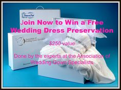 For all those brides to be! Join today for a chance to win -and have one less thing to worry about after the big day! We will draw one name per month! Wedding Dress Preservation, Garment Bags, First Names, Preserves, Big Day, The Fosters, Wedding Gowns, Brides, Join