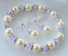 Swarovski Crystal and Pearl Stretchable Bracelet by HeartofGems