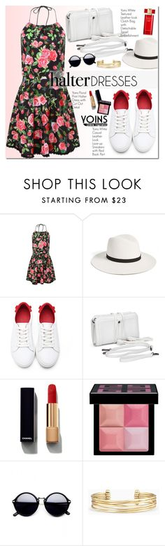"""Yoins Halter Dress"" by oshint ❤ liked on Polyvore featuring Janessa Leone, Chanel, Givenchy, Stella & Dot, Estée Lauder and halterdresses"