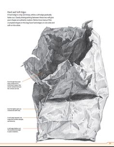 Mapping the main shapes of your subject is a key first step when drawing complex crumpled or textures objects, such as paper bags, fabric or dented cans.