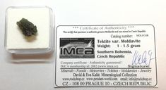 Genuine certified Moldavite under 1 gram available in box with company certificate for USD. Rocks And Minerals, Czech Republic, 1 Piece, Certificate, Unique Gifts, Bohemia, Original Gifts