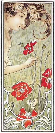 Art Nouveau postcard. 1900 (Intriguing because it's a little primitive. Love the poppies)